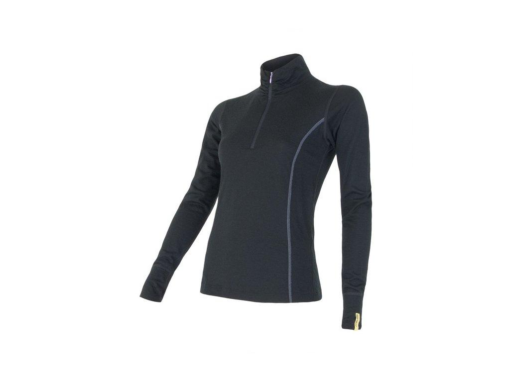 SENSOR MERINO ACTIVE dámské triko dl.rukáv stoják zip černá