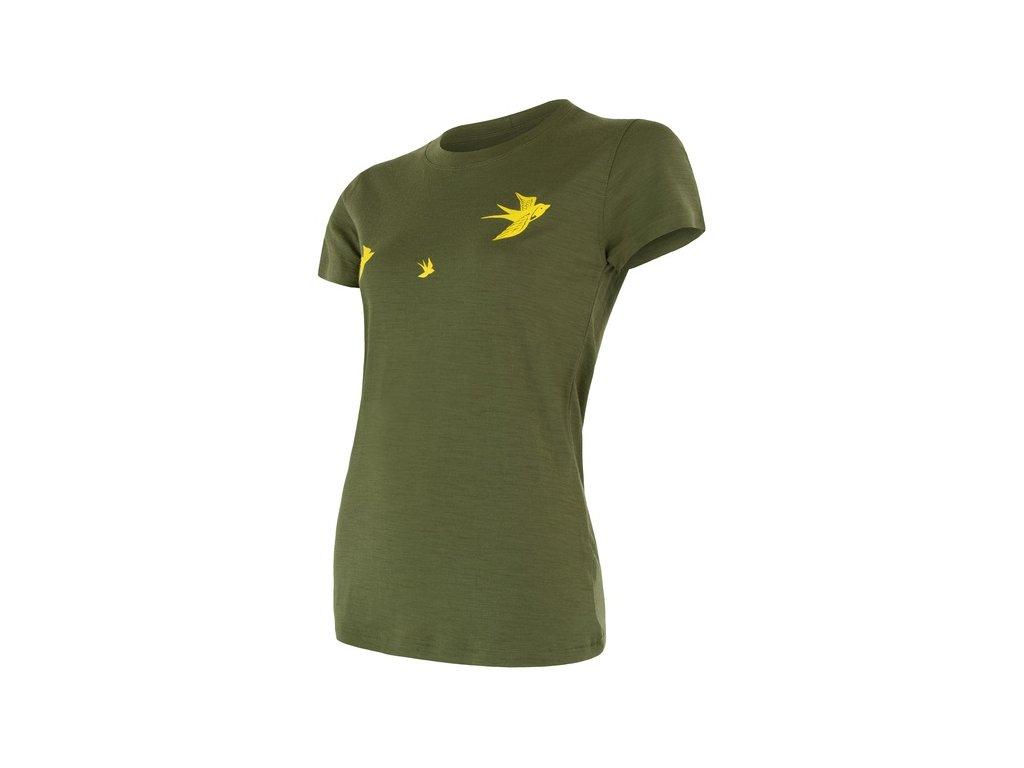 SENSOR MERINO ACTIVE PT SWALLOW dámské triko kr.rukáv safari
