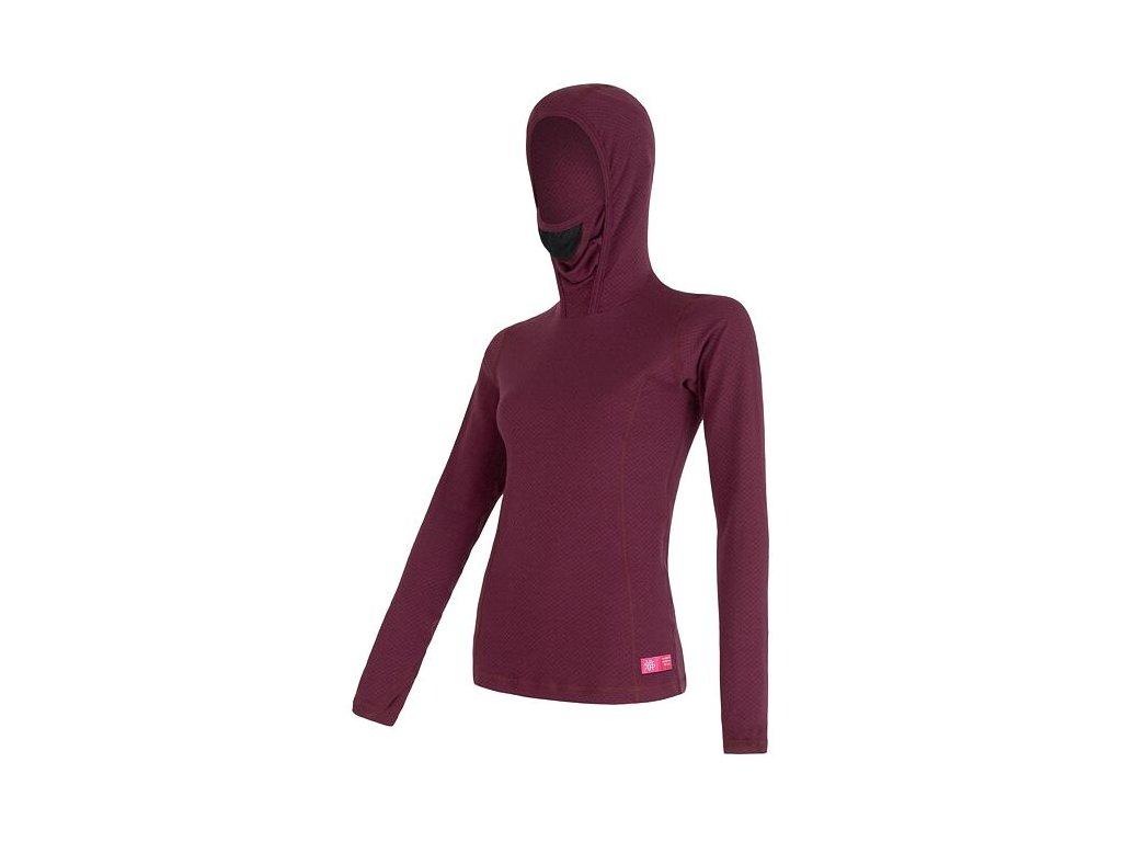 SENSOR MERINO DF dámské triko s kapucí