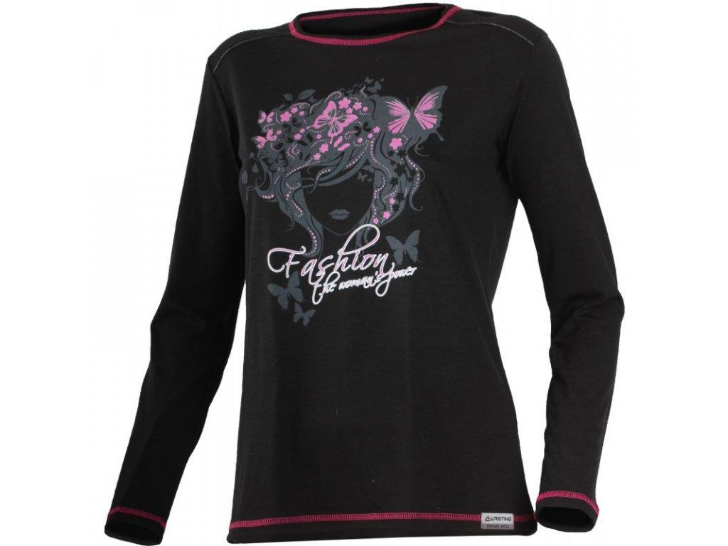 Lasting dámské merino triko s tiskem FLER černé