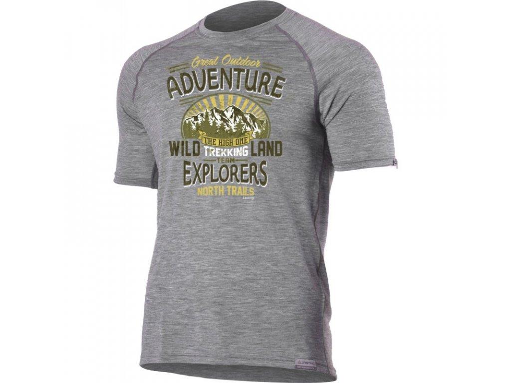 Lasting pánské merino triko s tiskem WILD šedé