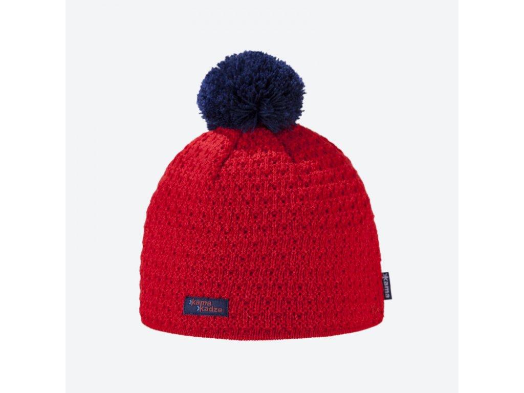 Pletená Merino čepice Kamakadze K36, červená