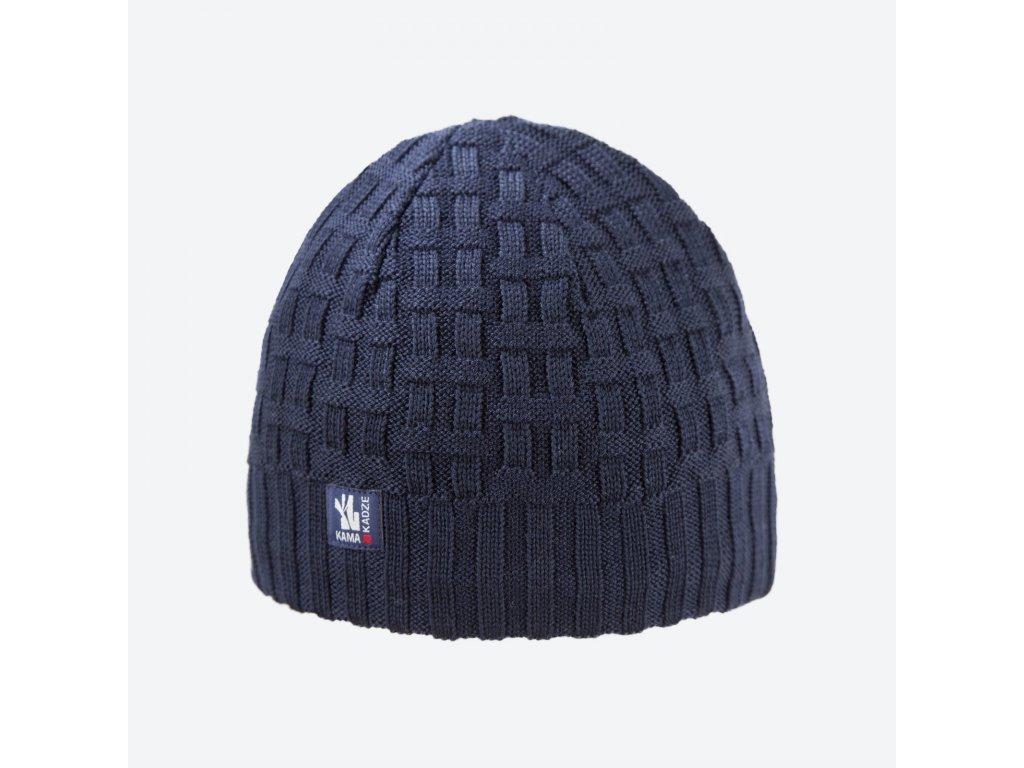 Pletená Merino čepice Kama A112, modrá