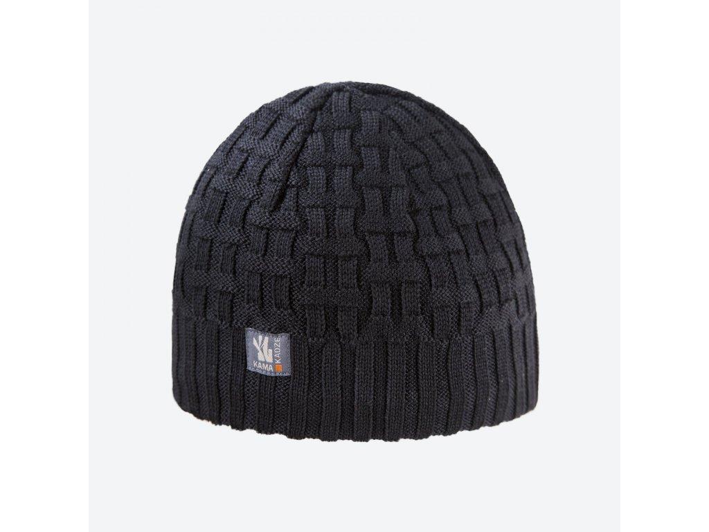 Pletená Merino čepice Kama A112, černá