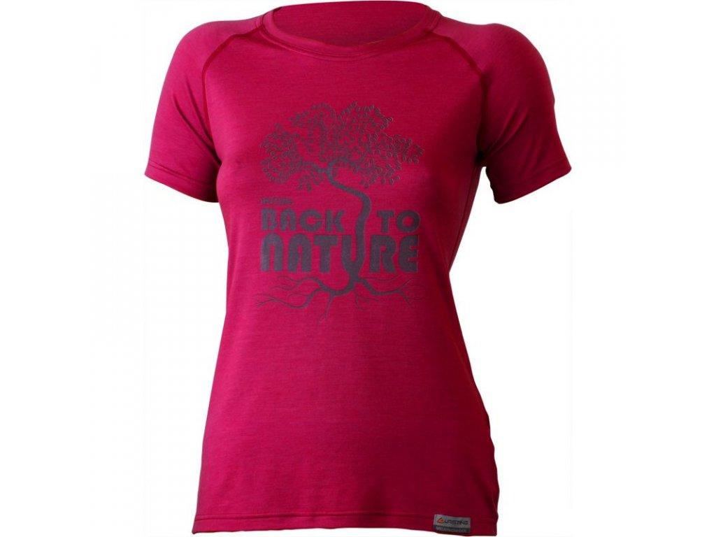 Lasting dámské merino triko s tiskem BACK růžové