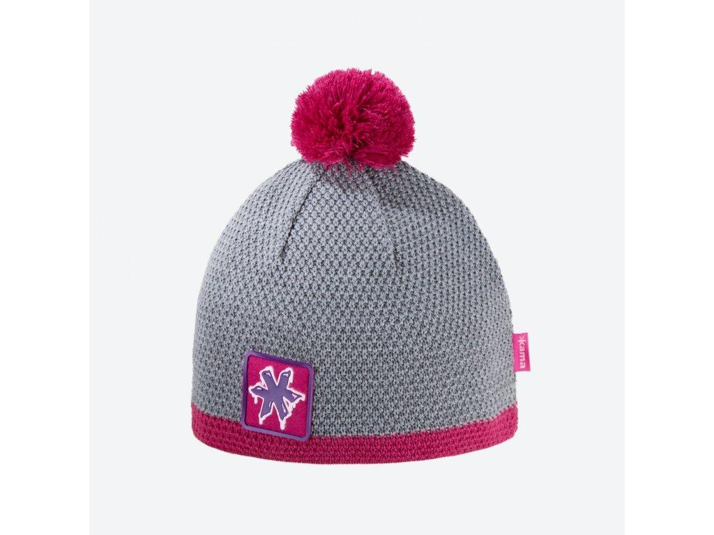 Pletená čepice Kamakadze K55, barva růžová