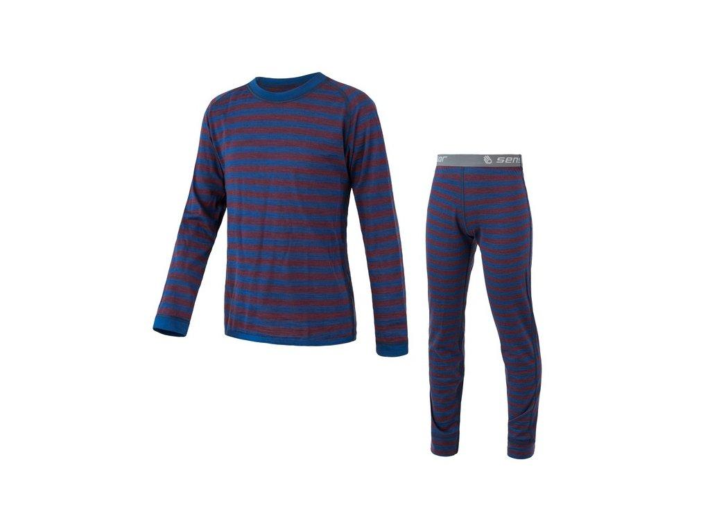 SENSOR MERINO AIR SET dětský triko dl.rukáv + spodky modrá/vínová pruhy