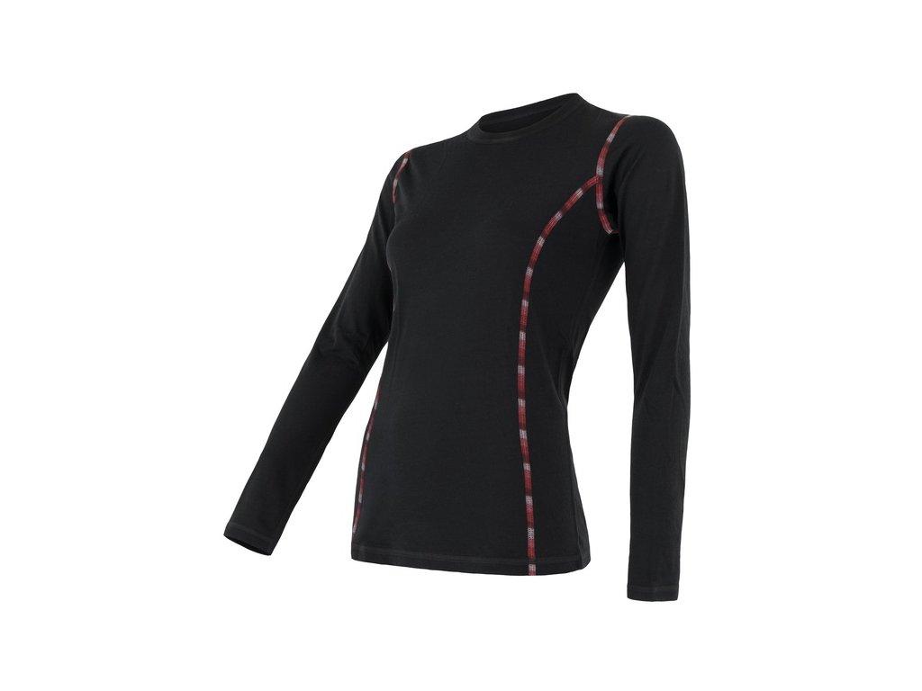 SENSOR MERINO AIR dámské triko dl.rukáv černá