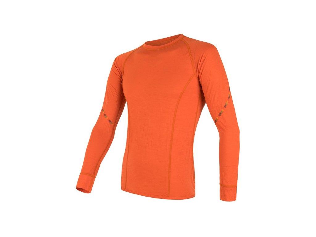 SENSOR MERINO AIR pánské triko dl.rukáv tm.oranžová