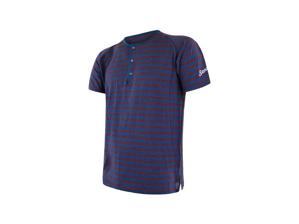 SENSOR MERINO AIR PT pánské triko kr.rukáv s knoflíky modrá/vínová pruhy