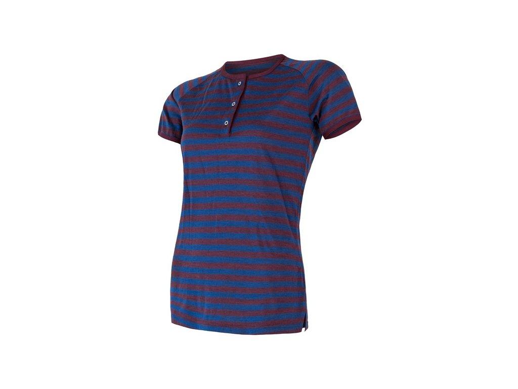 SENSOR MERINO AIR PT dámské triko kr.rukáv s knoflíky modrá/vínová pruhy