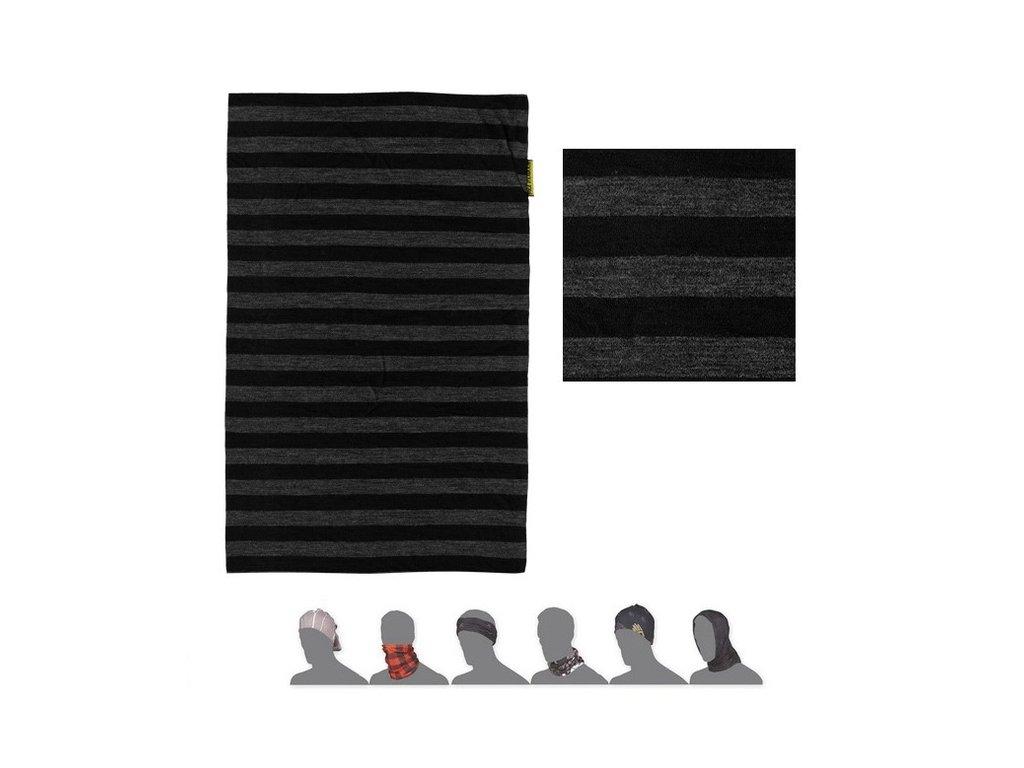 SENSOR TUBE MERINO WOOL multifunkční šátek pruhovaný černý