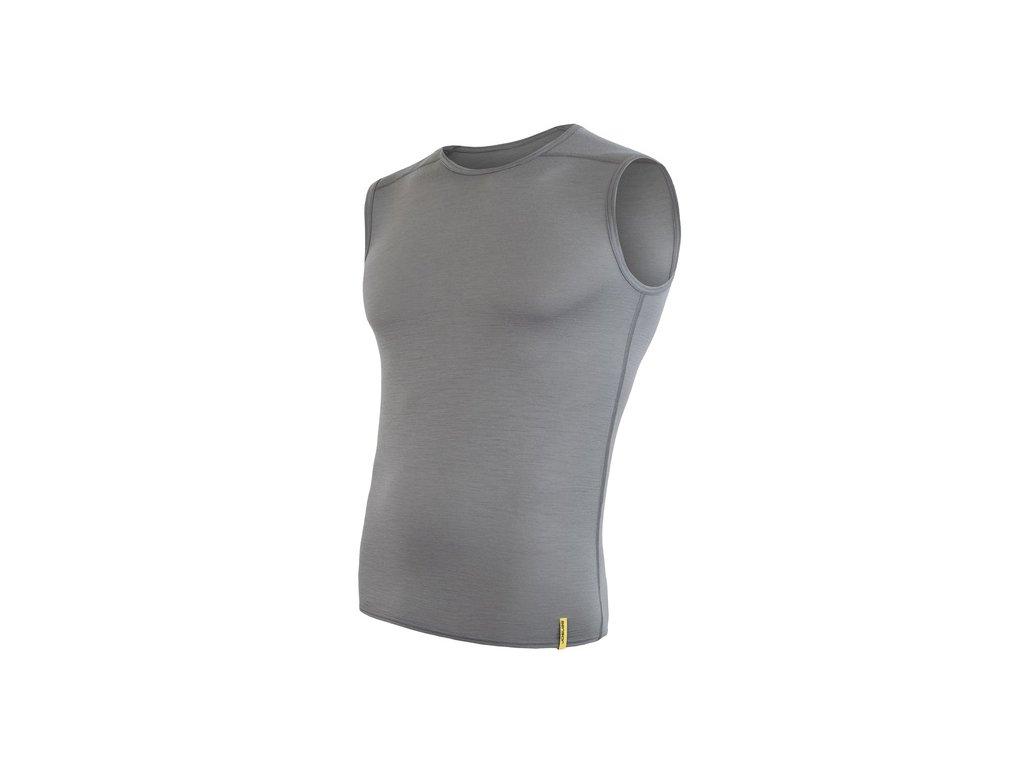 SENSOR MERINO ACTIVE pánské triko bez rukávu sv.šedá