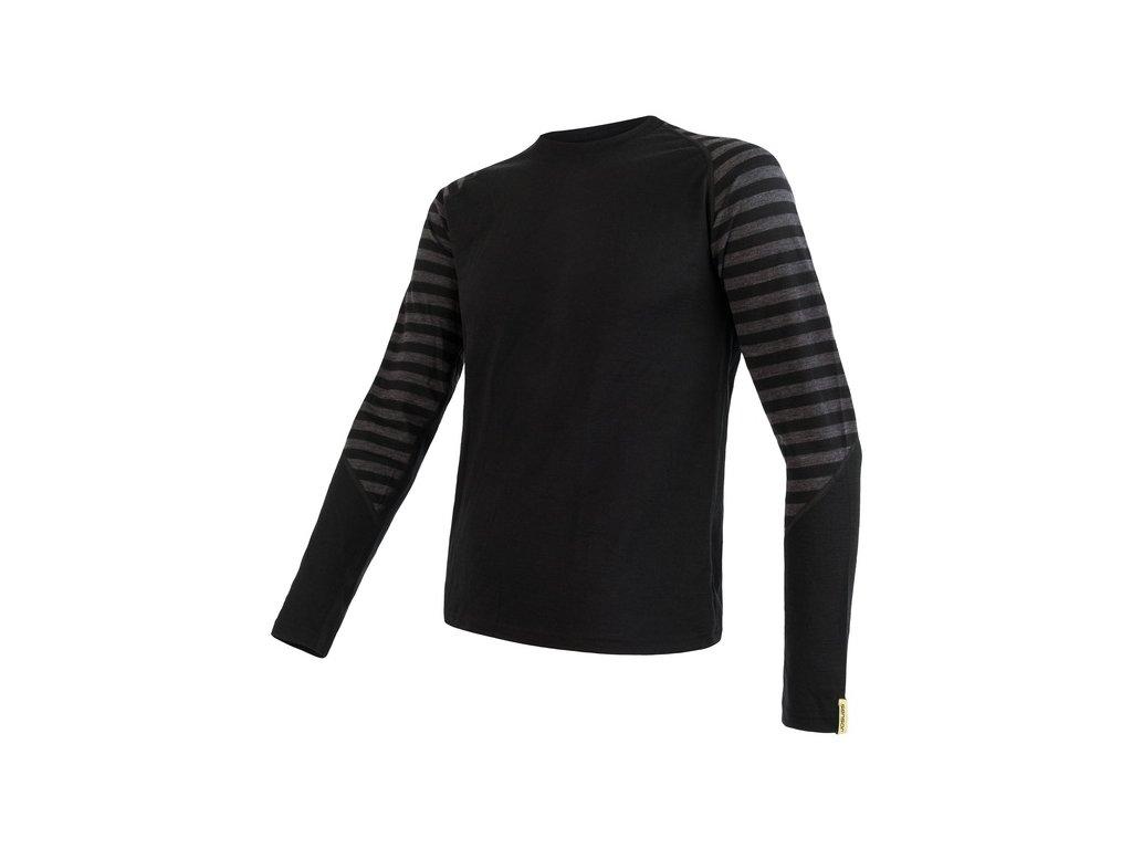 SENSOR MERINO ACTIVE pánské triko dl.rukáv černá/šedá pruhy