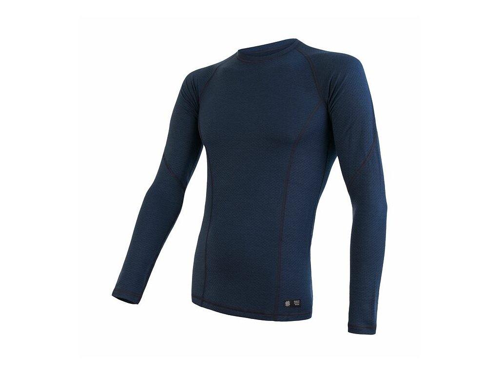 SENSOR MERINO DF pánské triko dl.rukáv deep blu