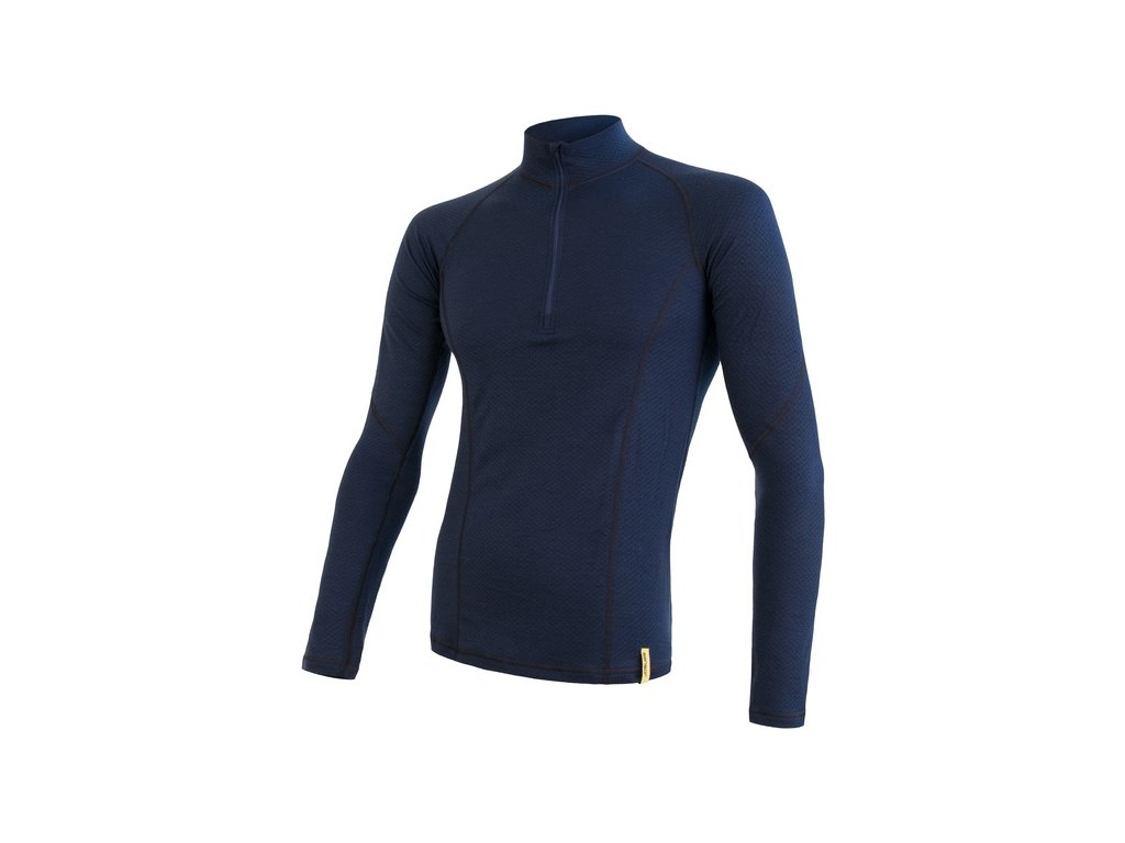 SENSOR MERINO DF pánské triko dl.rukáv zip deep blu