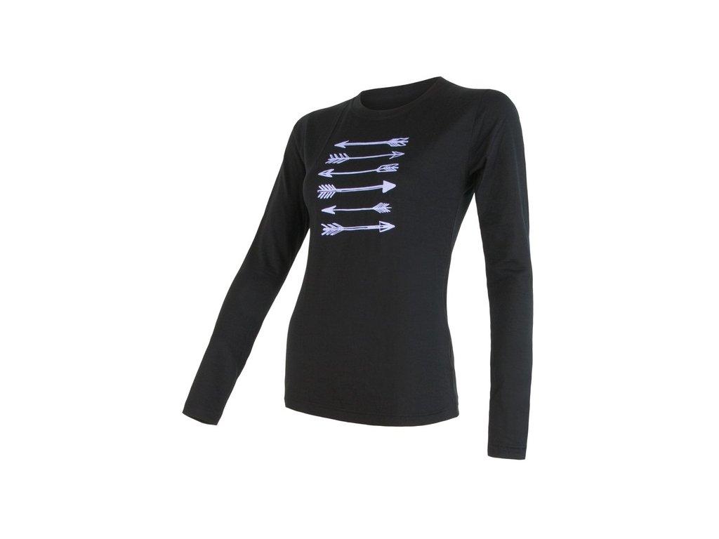 SENSOR MERINO ACTIVE PT ARROWS dámské triko dl.rukáv černá
