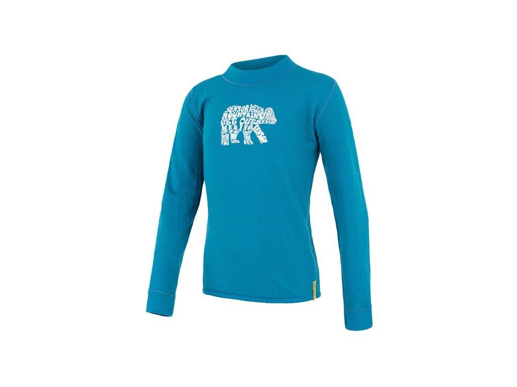 SENSOR MERINO DF BEAR dětské triko modré