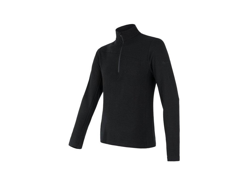 SENSOR MERINO EXTREME pánské triko dl.rukáv zip černá