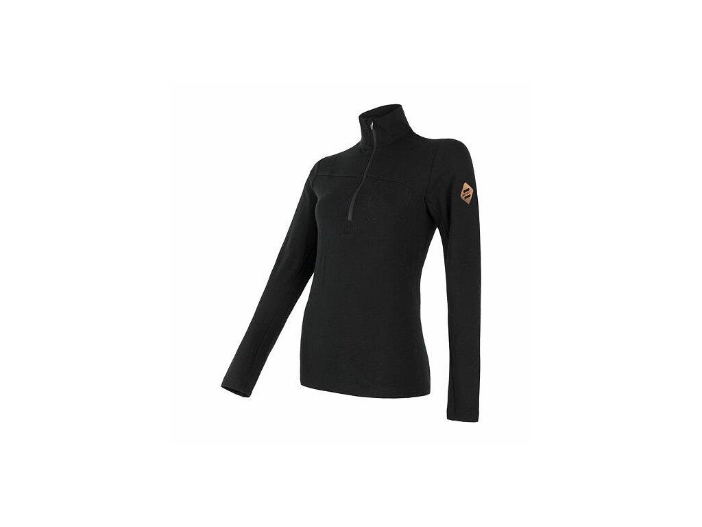 SENSOR MERINO EXTREME dámské triko dl.rukáv zip černá
