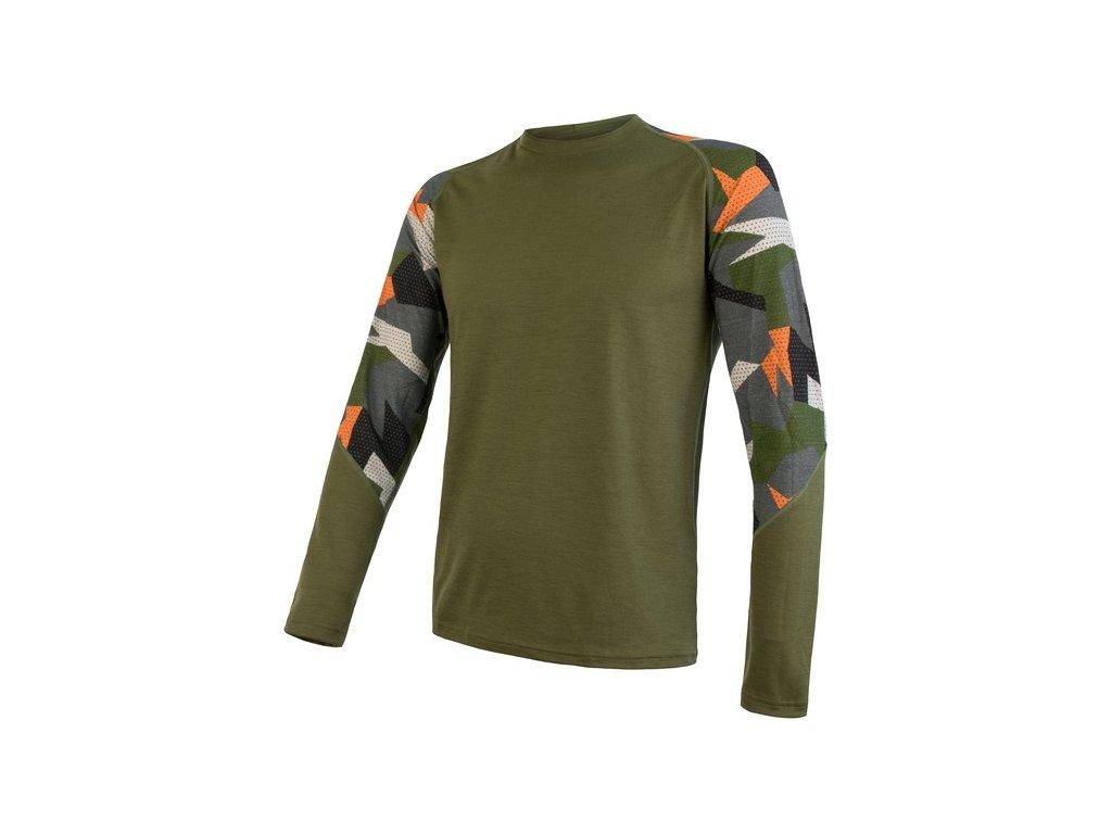 SENSOR MERINO IMPRESS pánské triko dl.rukáv safari/camo