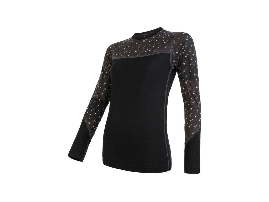 SENSOR MERINO IMPRESS dámské triko dl.rukáv černá/pattern