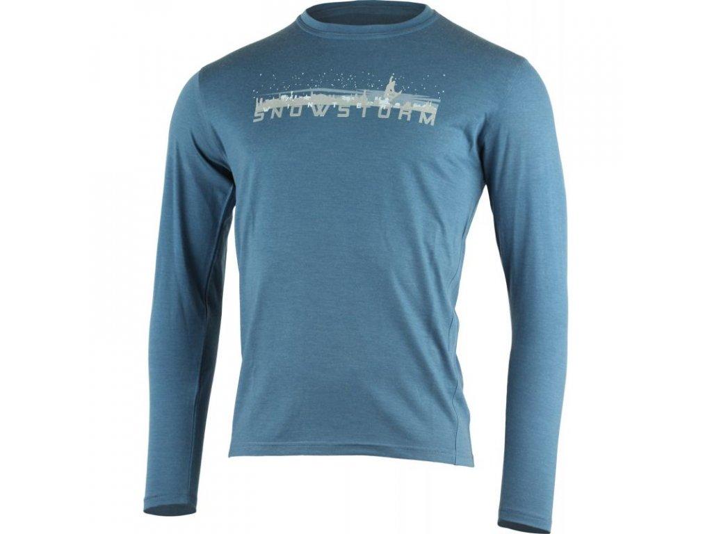 Lasting pánské merino triko s tiskem LOKAJ modré