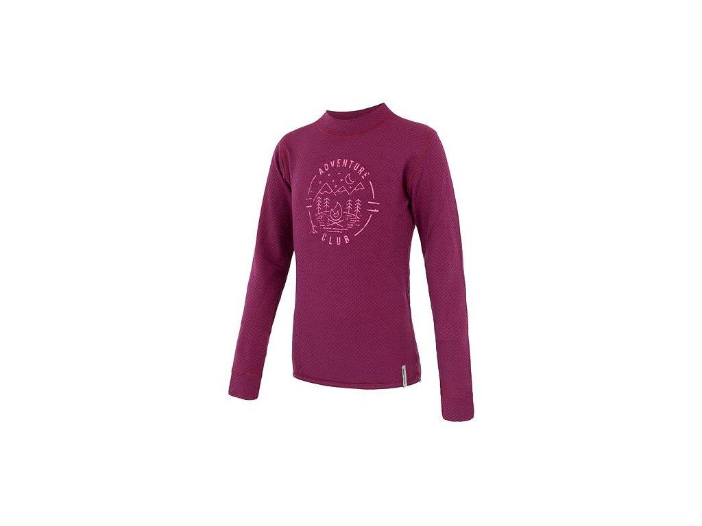 SENSOR MERINO DF CLUB dětské triko dl.rukáv lilla