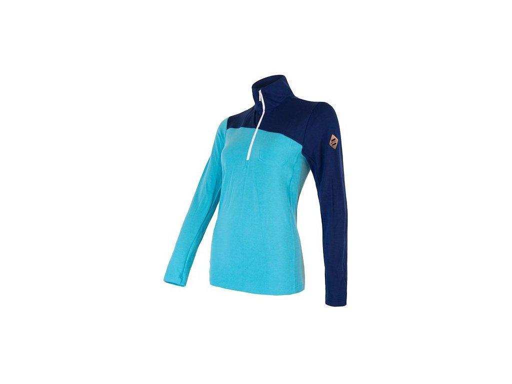 SENSOR MERINO EXTREME dámské triko dl.rukáv zip tm.modrá/modrá