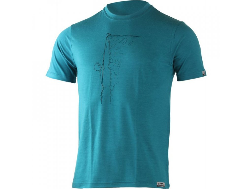 Lasting pánské merino triko s tiskem HORAL modré