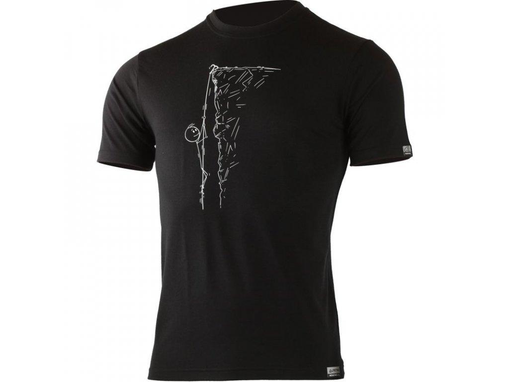 Lasting pánské merino triko s tiskem HORAL černé
