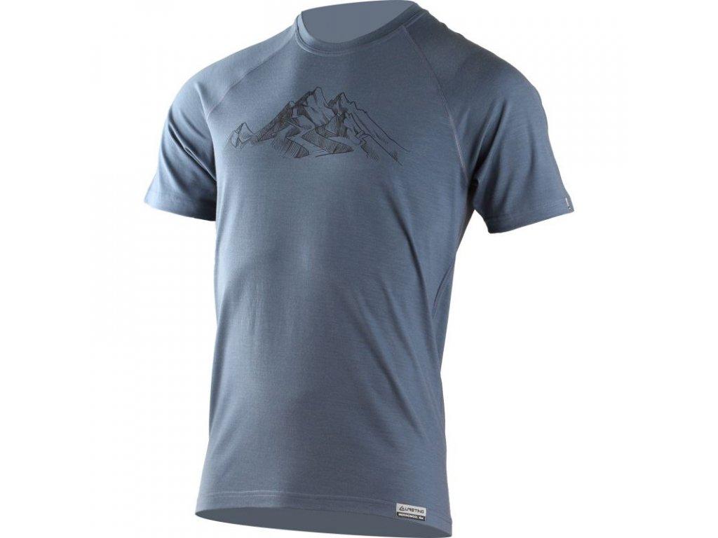 Lasting pánské merino triko s tiskem HILL modré