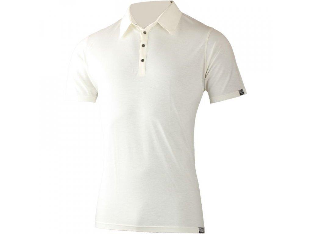 Lasting pánská merino polo košile JARIS bílá