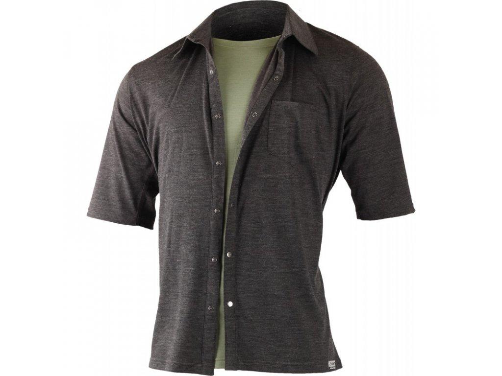 Lasting pánská merino polo košile EMIL šedá