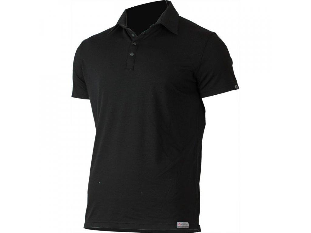 Lasting pánská merino polo košile ELIOT černá