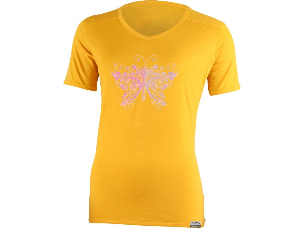 Lasting dámské merino triko s tiskem MANUELA žluté