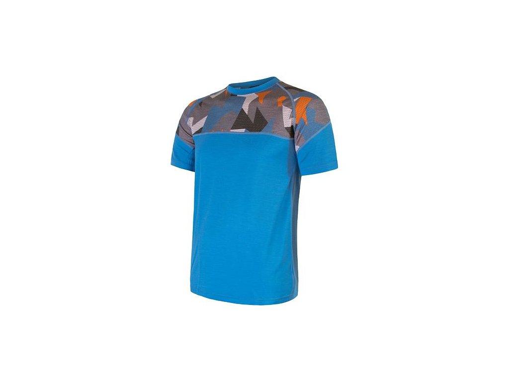 SENSOR MERINO IMPRESS pánské triko kr.rukáv modrá/camo