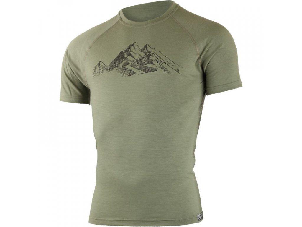 lasting panske merino triko s tiskem hill zelene 6666