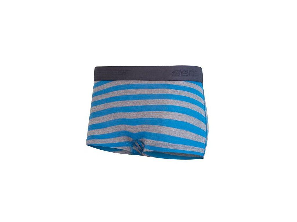 SENSOR MERINO ACTIVE dámské kalhotky s nohavičkou modrá/šedá pruhy
