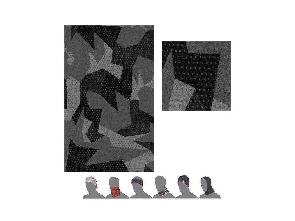 SENSOR TUBE MERINO IMPRESS šátek multifunkční černá/camo
