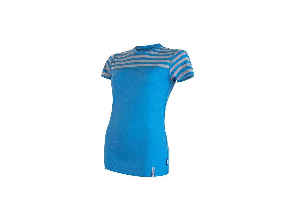 SENSOR MERINO ACTIVE dámské triko kr.rukáv modrá/šedá pruhy