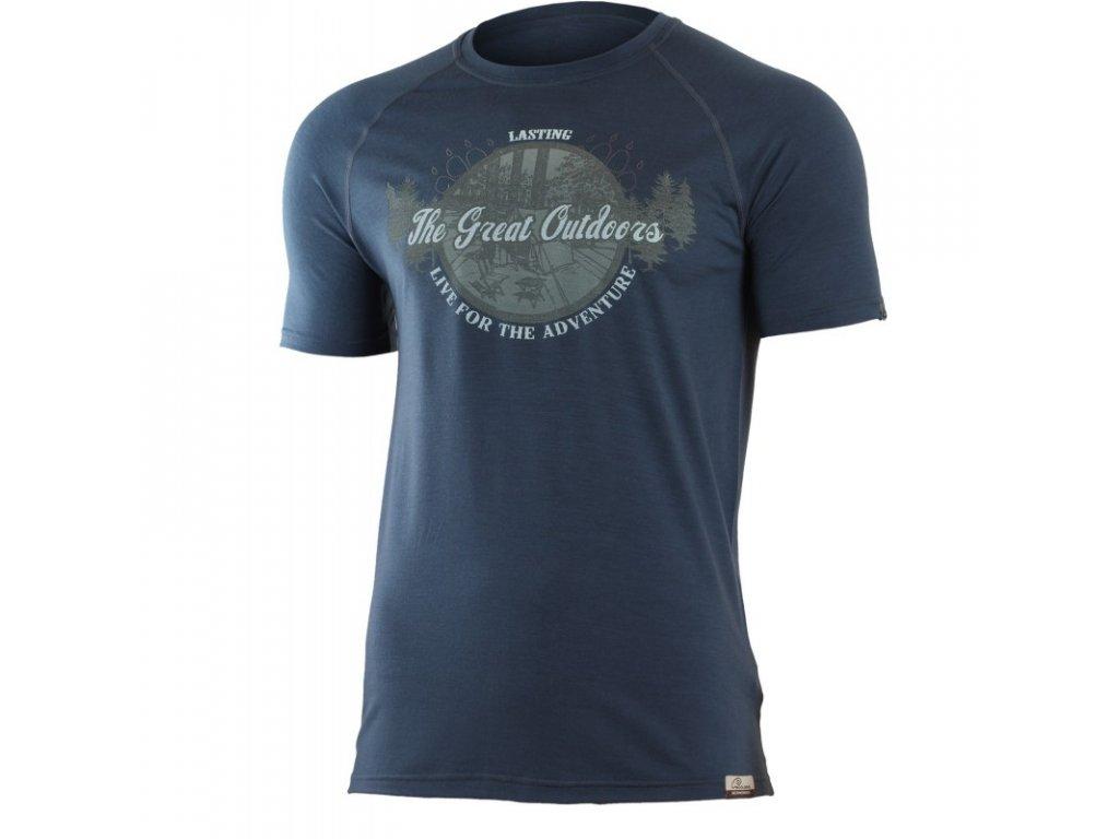 Lasting pánské merino triko s tiskem LUCAS modré