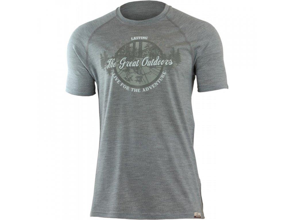 Lasting pánské merino triko s tiskem LUCAS šedé