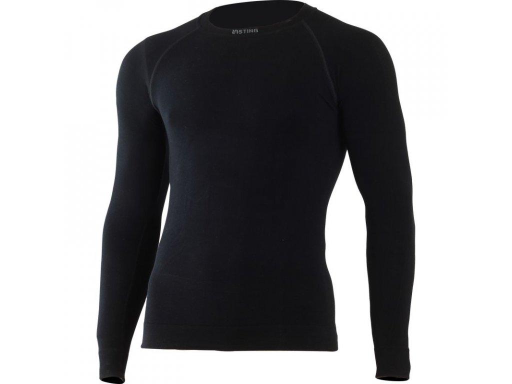 Lasting pánské merino bezešvé triko WOLF černé