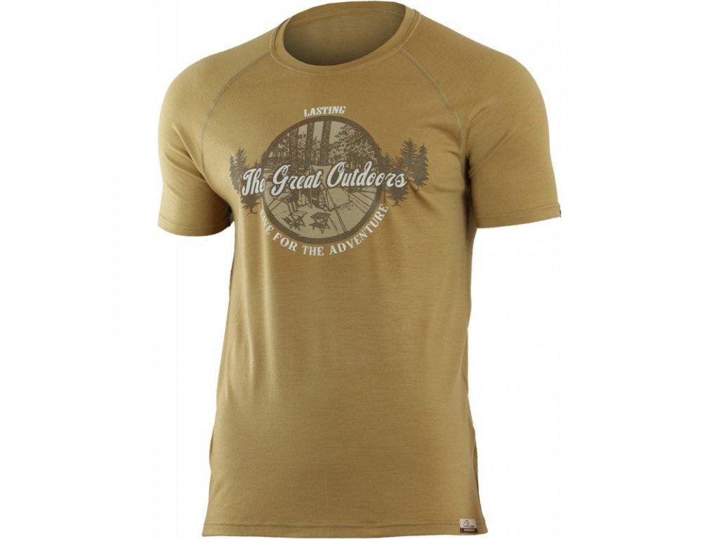 Lasting pánské merino triko s tiskem LUCAS hnědé