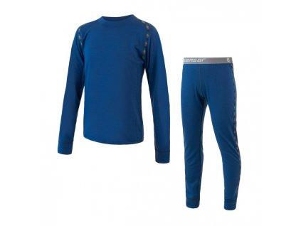 SENSOR MERINO AIR SET dětský triko dl.rukáv + spodky tm.modrá