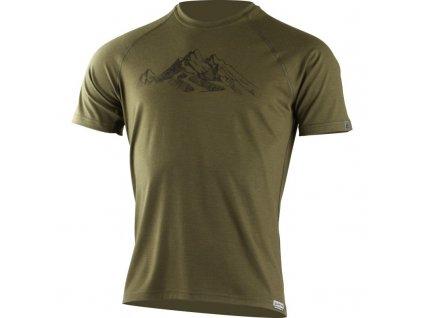 Lasting pánské merino triko s tiskem HILL zelené