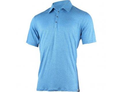 Lasting pánská merino polo košile JARIS modrá