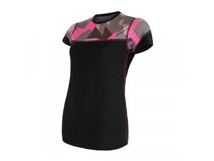 SENSOR MERINO IMPRESS dámské tričko CAMO