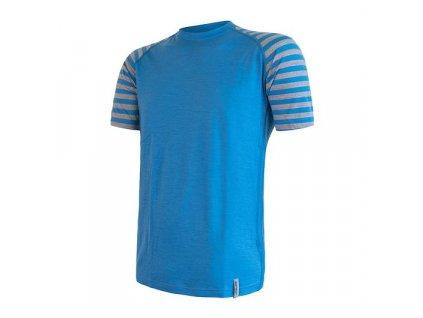 SENSOR MERINO ACTIVE pánské triko kr.rukáv modrá/šedá pruhy